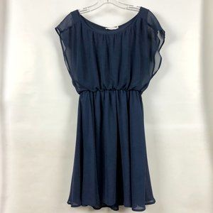 Lush butterfly sleeve navy shift dress, like new